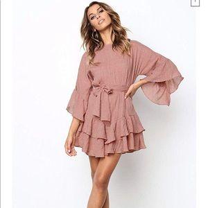 Sweet Ruffled Mini Dress in Blush